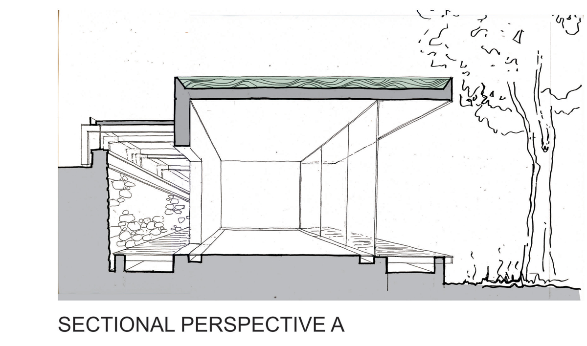 Barcelona pavilion section drawing - Gabriel S Garden Pavilion By Kate Otten Architects