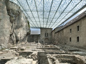 Coverage of Archaeological Ruins of the Abbey of St. Maurice / by Savioz Fabrizzi Architectes